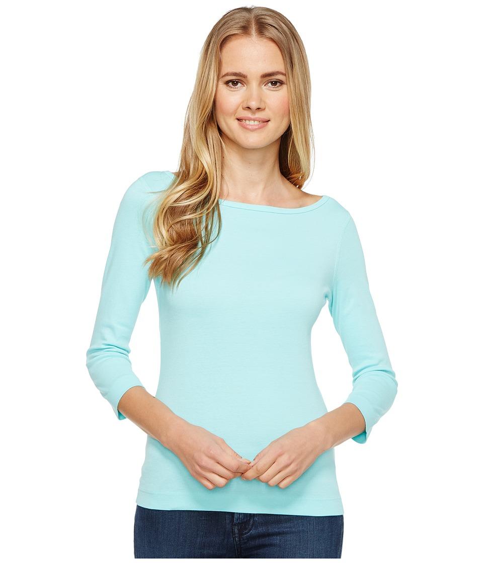 Three Dots - Essential British Neck 3/4 Sleeve Top (Aqua) Women's Clothing