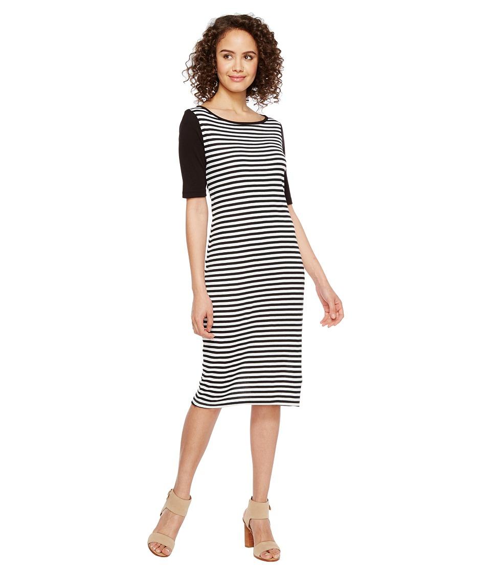 Three Dots Mykonos Stripe Blocked Sheath (Black/White) Women
