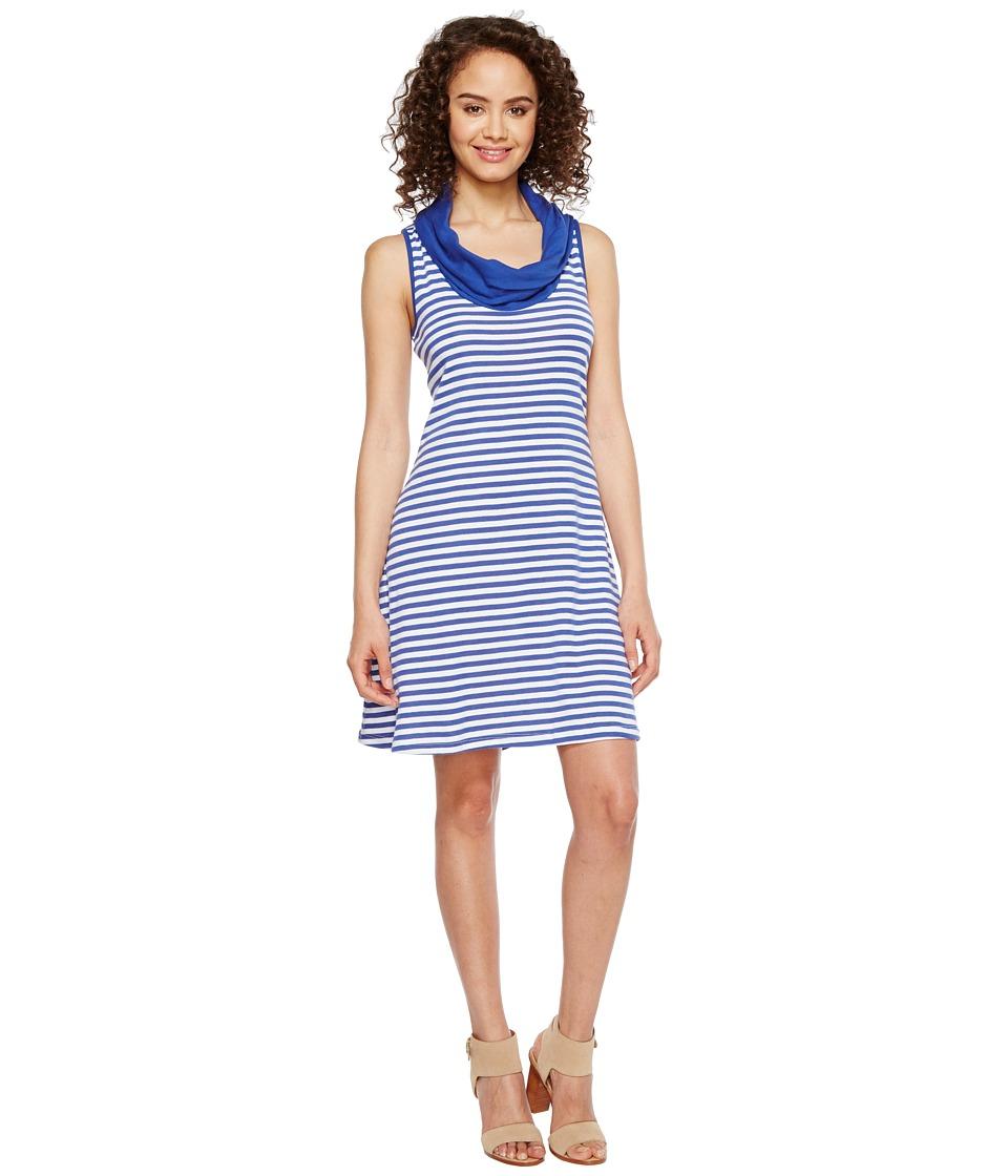 Three Dots - Mykonos Stripes Cowl Neck Dress (Mystic Blue/White) Women's Dress
