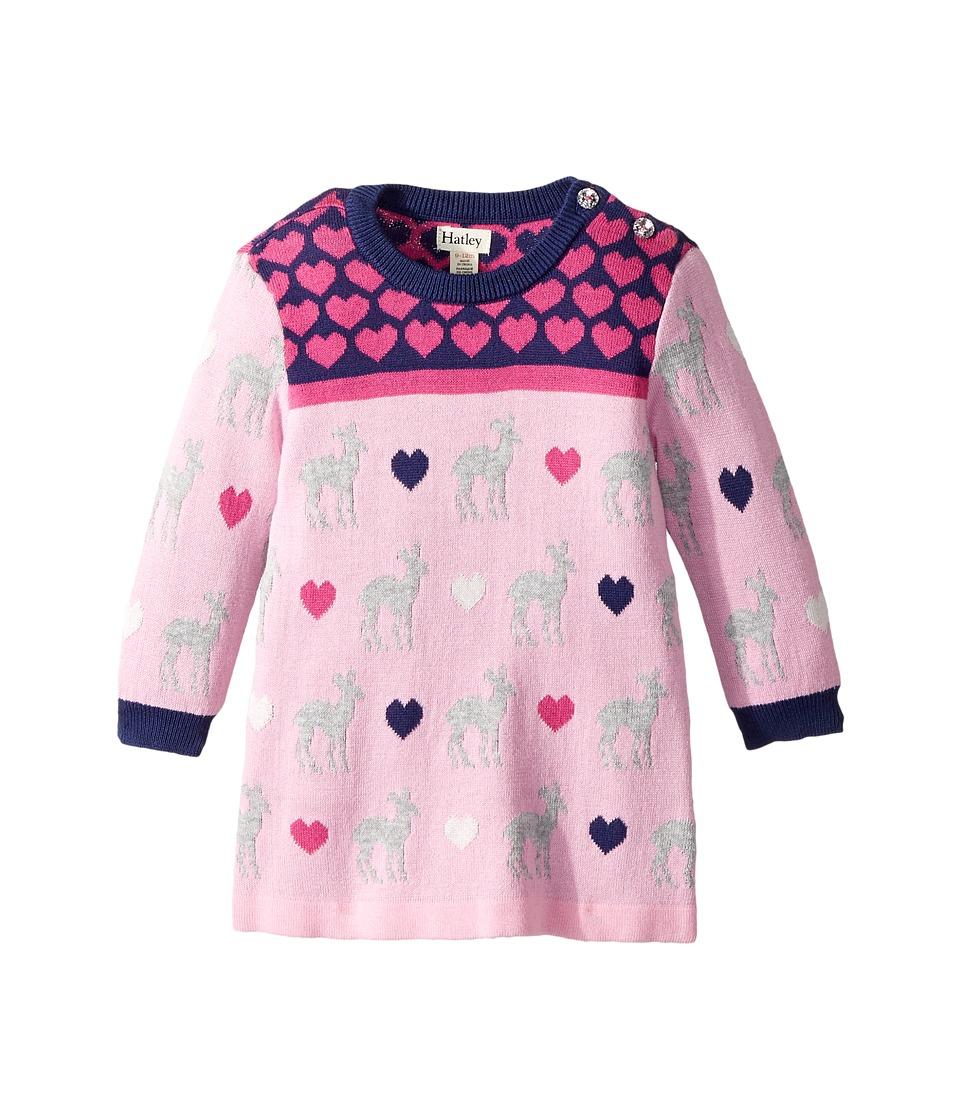Hatley Kids Deer Hearts Mini Sweater Dress (Infant) (Pink) Girl