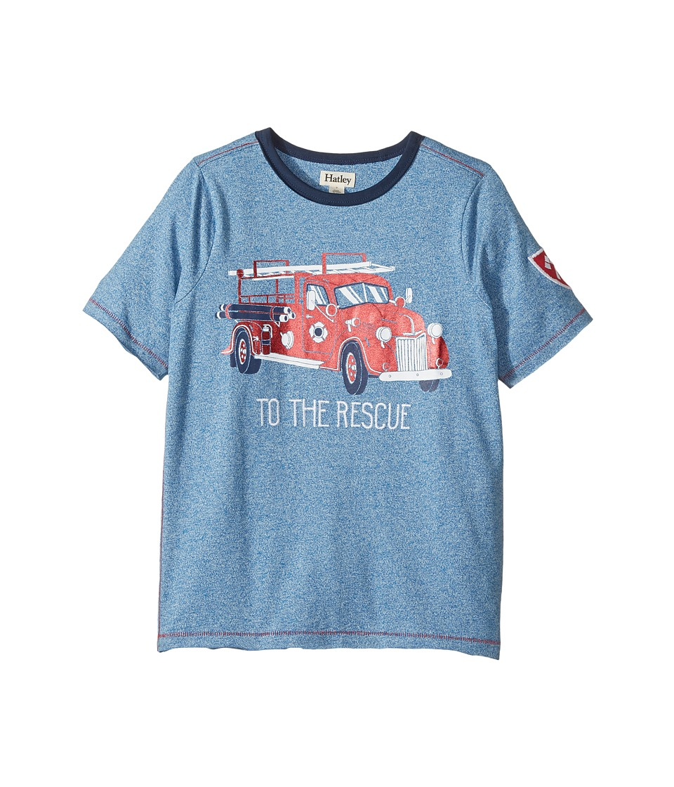 Hatley Kids - To The Rescue Firetruck Short Sleeve Tee (Toddler/Little Kids/Big Kids) (Blue) Boy's T Shirt