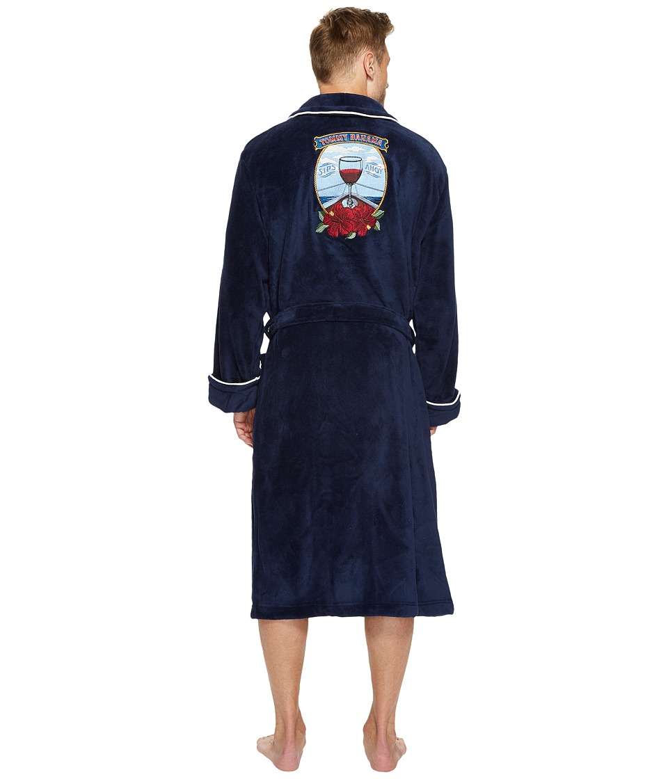 Tommy Bahama - Sips Ahoy Embroidered Plush Robe (Ocean Deep) Men's Robe