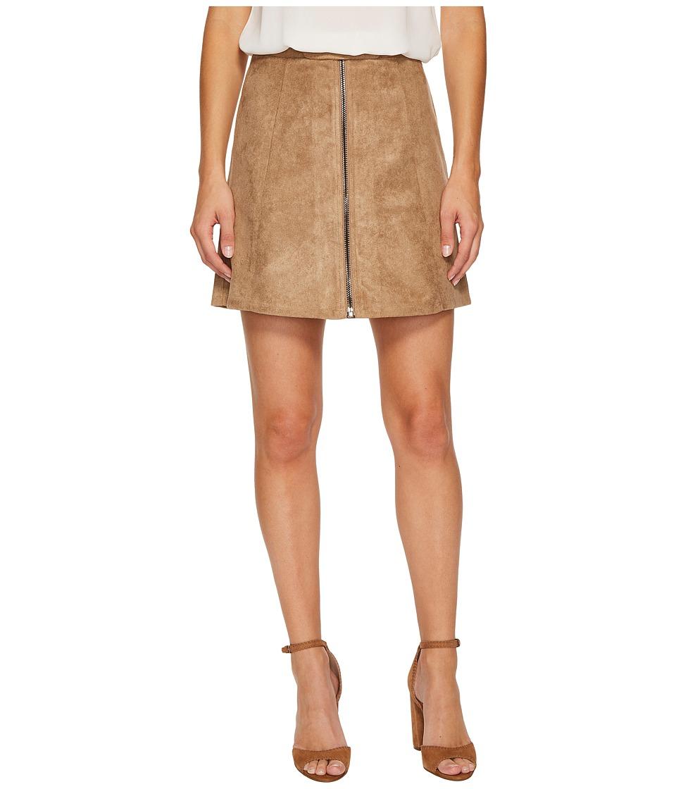 Bishop + Young Suede Zip-Up A-line Skirt (Sand) Women