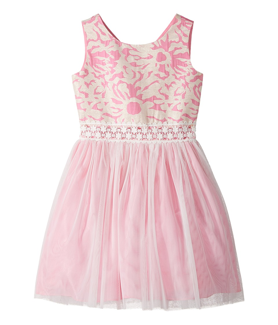 Us Angels - Sleeveless Brocade with Netting Dress (Big Kids) (Cotton Candy) Girl's Dress