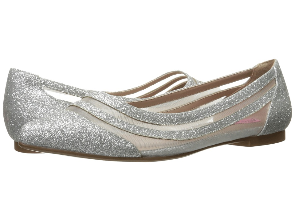 Betsey Johnson - Annette (Silver Glitter) Women's Flat Shoes