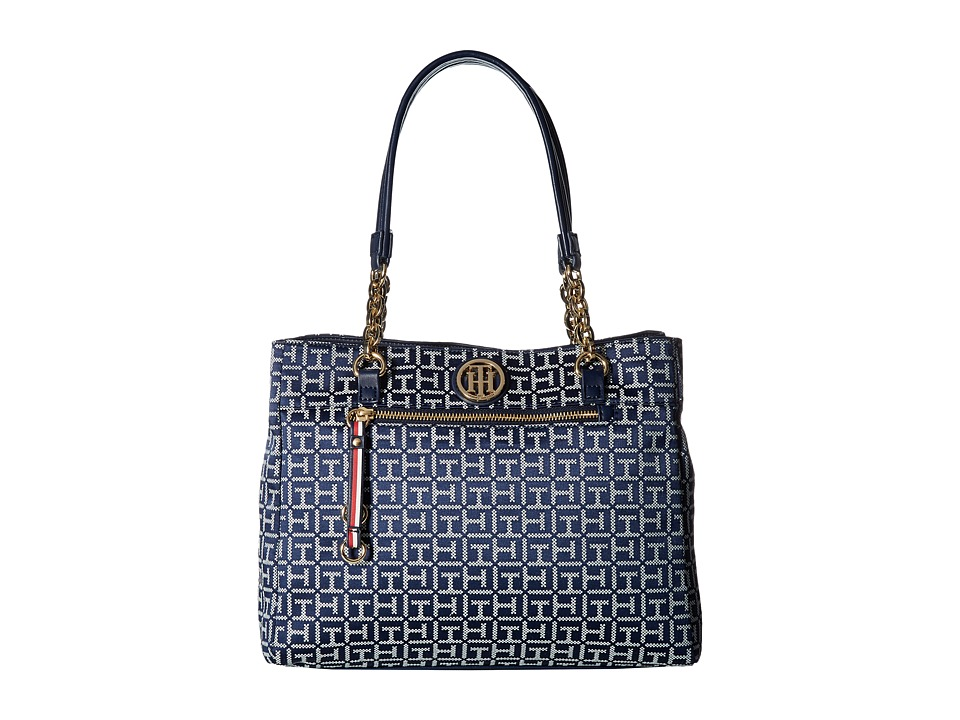 Tommy Hilfiger - Kiara Tote - Jacquard (Navy/White) Cross Body Handbags