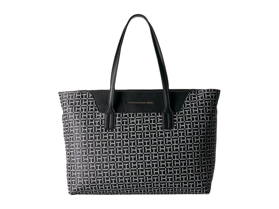 Tommy Hilfiger - Adamaria Tote Monogram Jacquard (Black/White) Tote Handbags