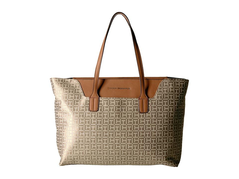 Tommy Hilfiger - Adamaria Tote Monogram Jacquard (Khaki Tonal) Tote Handbags