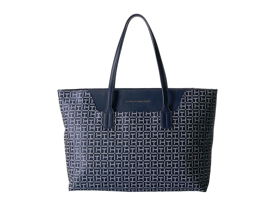 Tommy Hilfiger - Adamaria Tote Monogram Jacquard (Navy/White) Tote Handbags