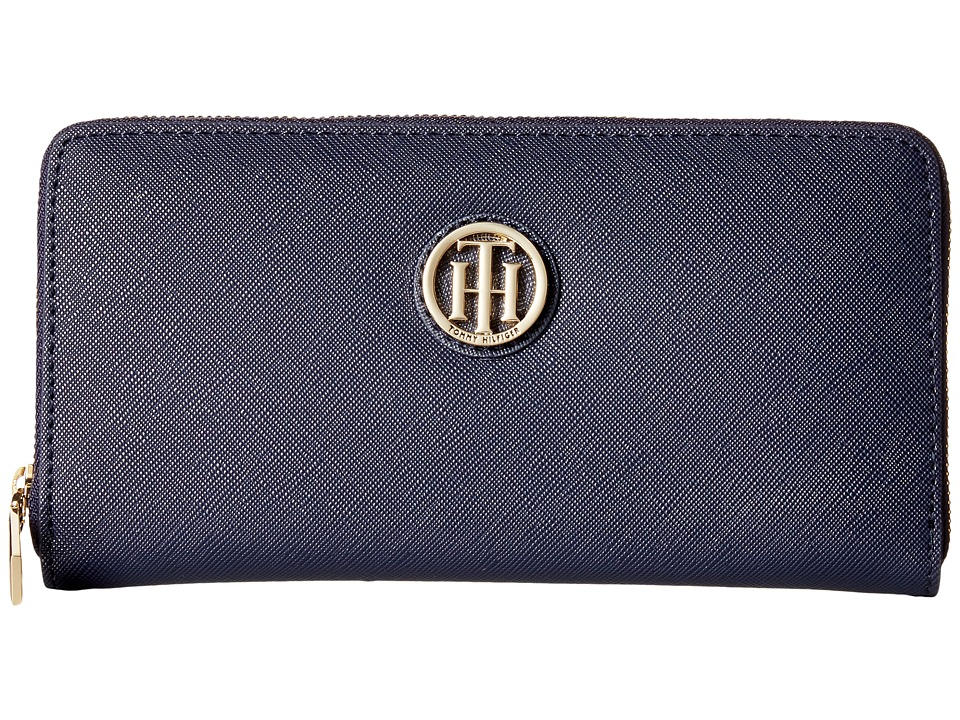 Tommy Hilfiger - The Serif Signature Large Zip Around (Tommy Navy) Handbags