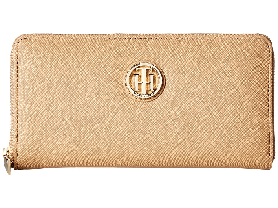 Tommy Hilfiger - The Serif Signature Large Zip Around (Camel) Handbags