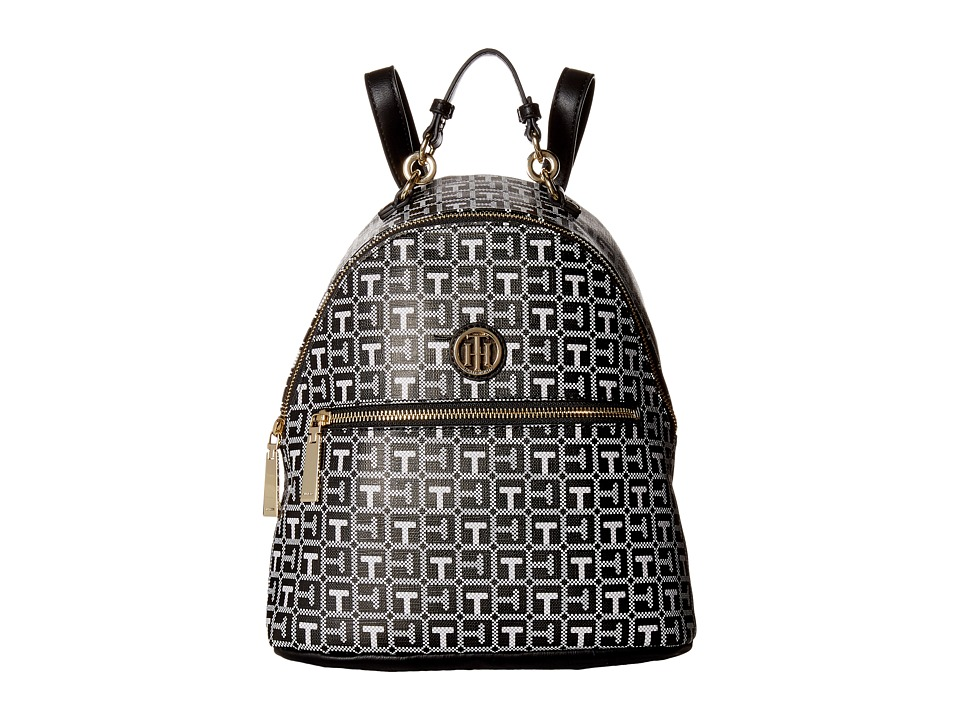 Tommy Hilfiger - Isabella Dome Backpack (Black/White) Backpack Bags