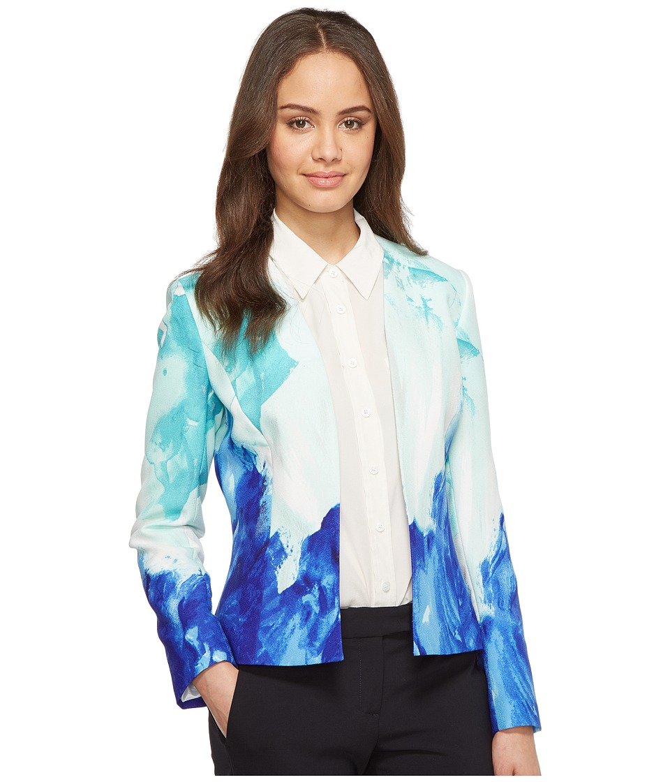 Tahari by ASL - Printed Crepe Open Jacket (Seafoam/Blue) Women's Jacket