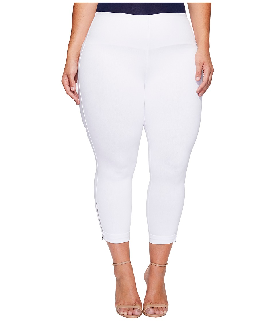 Lysse - Plus Size Denim Cuffed Crop (White) Women's Casual Pants