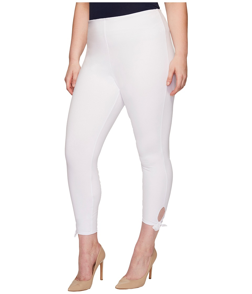 Lysse - Plus Size Tie Cotton Crop (White) Women's Casual Pants