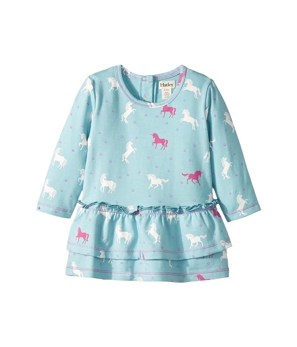 Hatley Kids Dancing Unicorns Mini Layered Dress (Infant) (Blue) Girl
