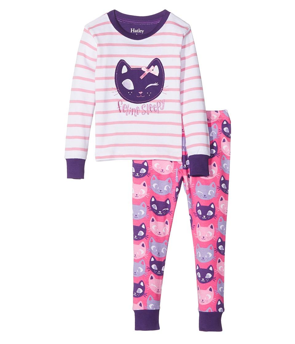 Hatley Kids - Feline Sleepy PJ Set (Toddler/Little Kids/Big Kids) (White) Girl's Pajama Sets