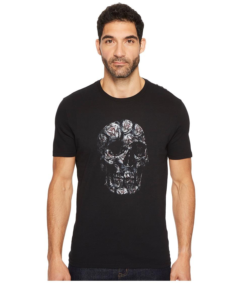 John Varvatos Star U.S.A. - Floral Skull Graphic Tee (Black) Men's T Shirt