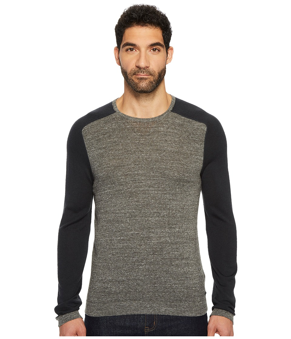 John Varvatos Star U.S.A. Long Sleeve Color Block Crewneck Sweater (Charcoal Heather) Men