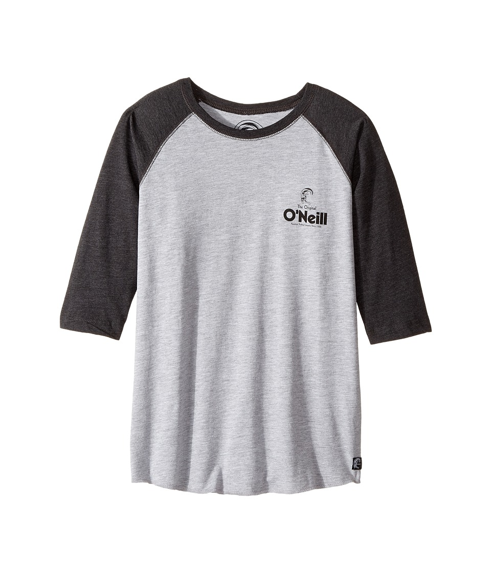 O'Neill Kids - Stick Up Raglan Long Sleeve Screen Tee (Big Kids) (Heather Grey/Smoke) Boy's T Shirt