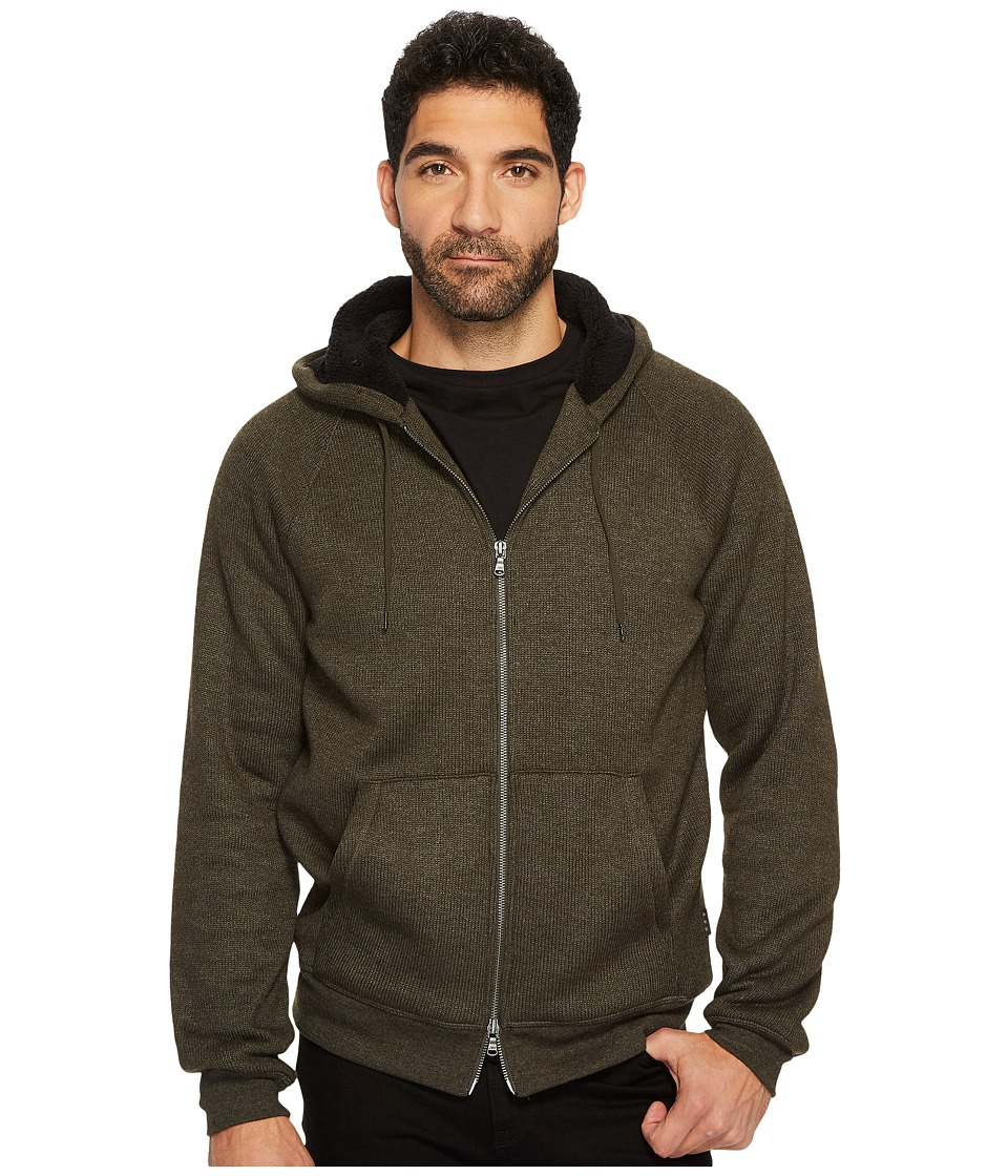 John Varvatos Star U.S.A. Knit Hoodie with Sherpa Lined Hood and Elbow Patches (Olive Branch) Men's Sweatshirt