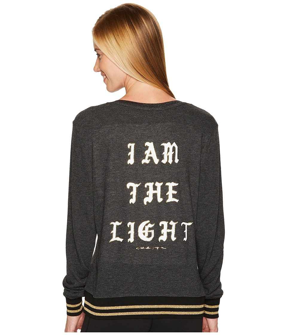 Spiritual Gangster - I Am The Light Savasana V-Neck (Vintage Black) Women's Clothing