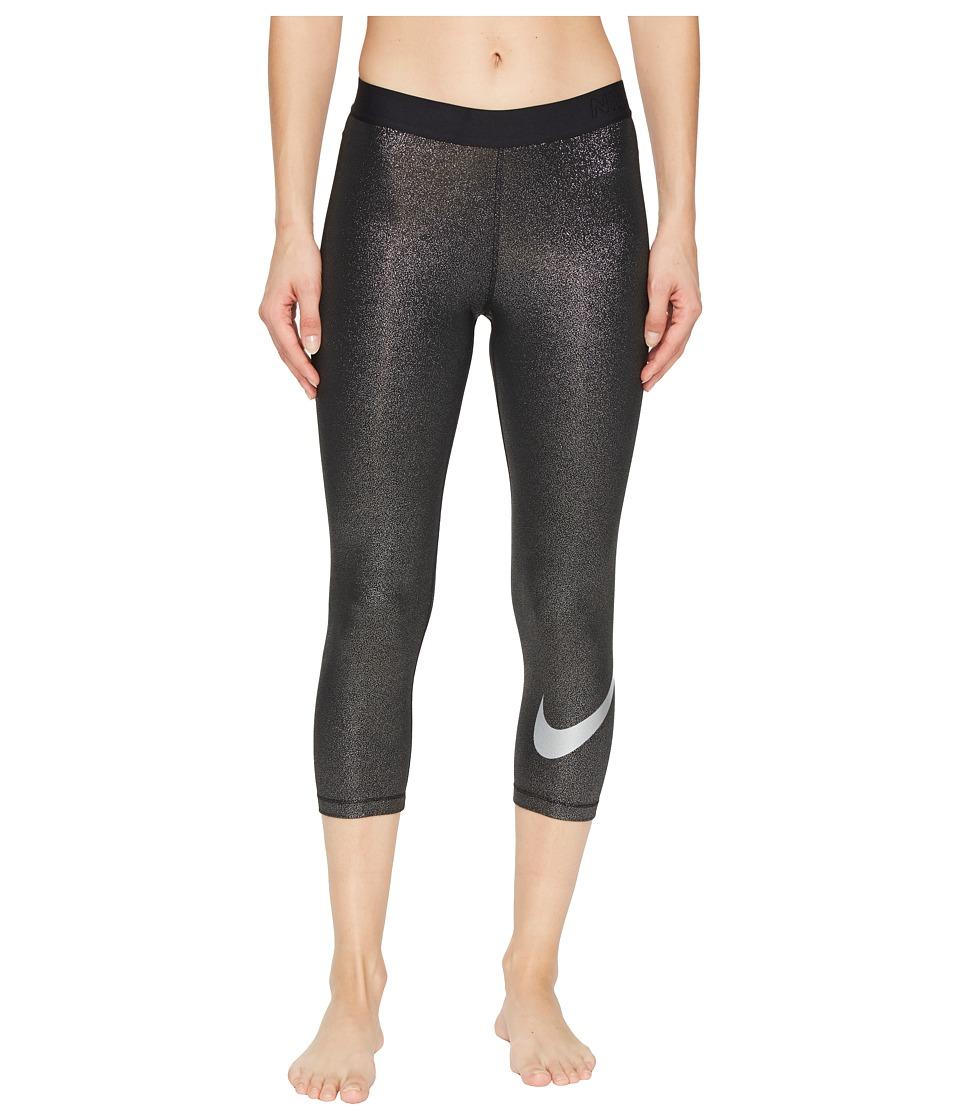 Nike Pro Cool Training Capri (Black/Metallic Silver/Metallic Silver) Women
