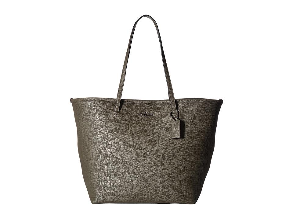 COACH - Crossgrain Large Street Tote (Olive) Tote Handbags
