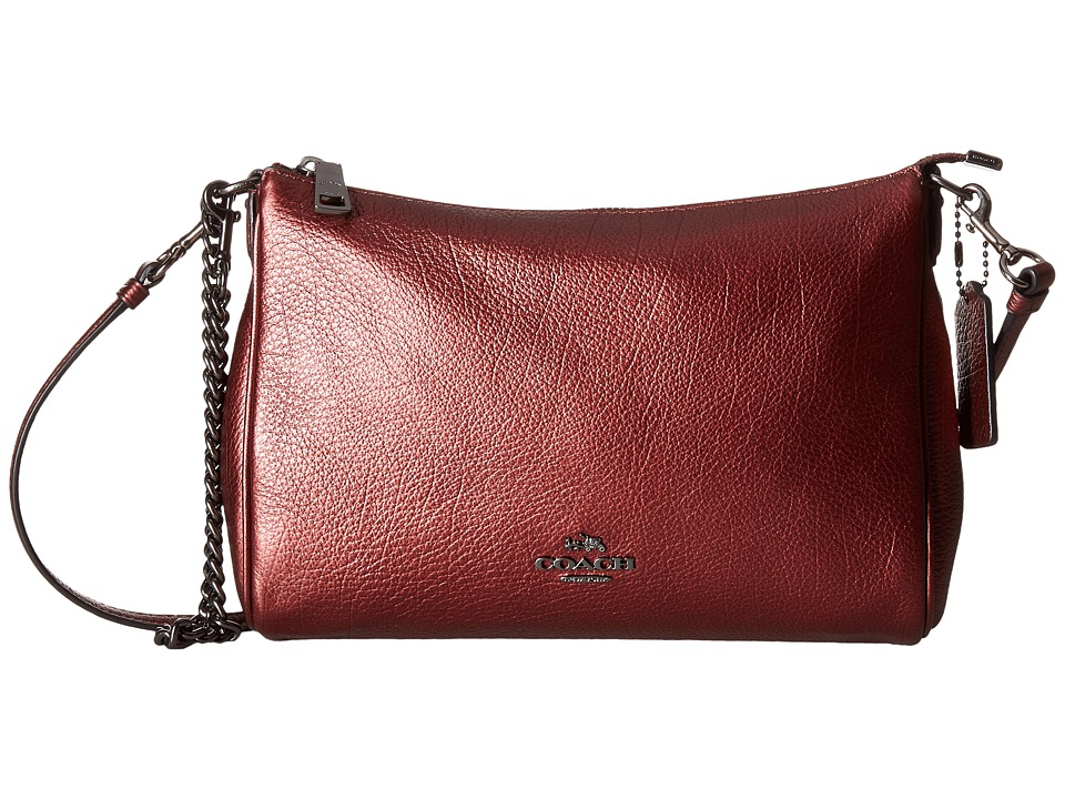 COACH - Leather Carrie Crossbody (Metallic Cherry) Cross Body Handbags
