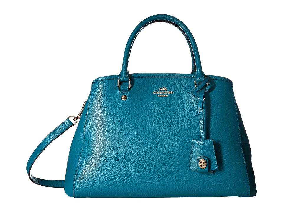 COACH - Crossgrain Small Margot Carryall (Teal) Handbags
