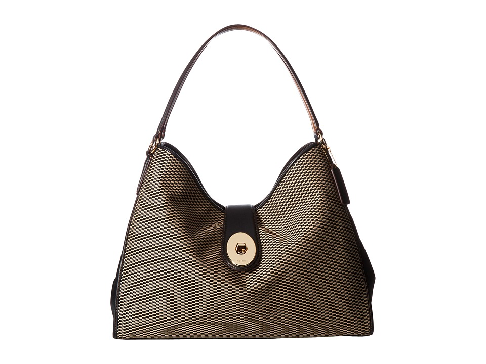 COACH - Madison Exploded Reps Carlyle Shoulder Bag (Milk/Black) Handbags