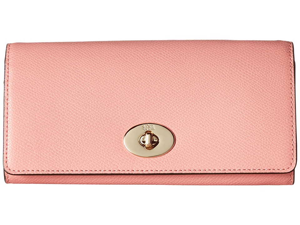 COACH - Crossgrain Leather Slim Chain Envelope (Pink) Handbags