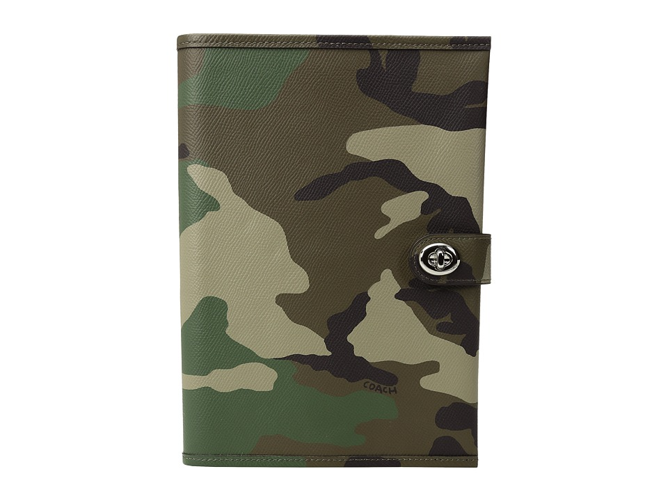 COACH - Camo Leather Bookcover (Green Multi) Wallet