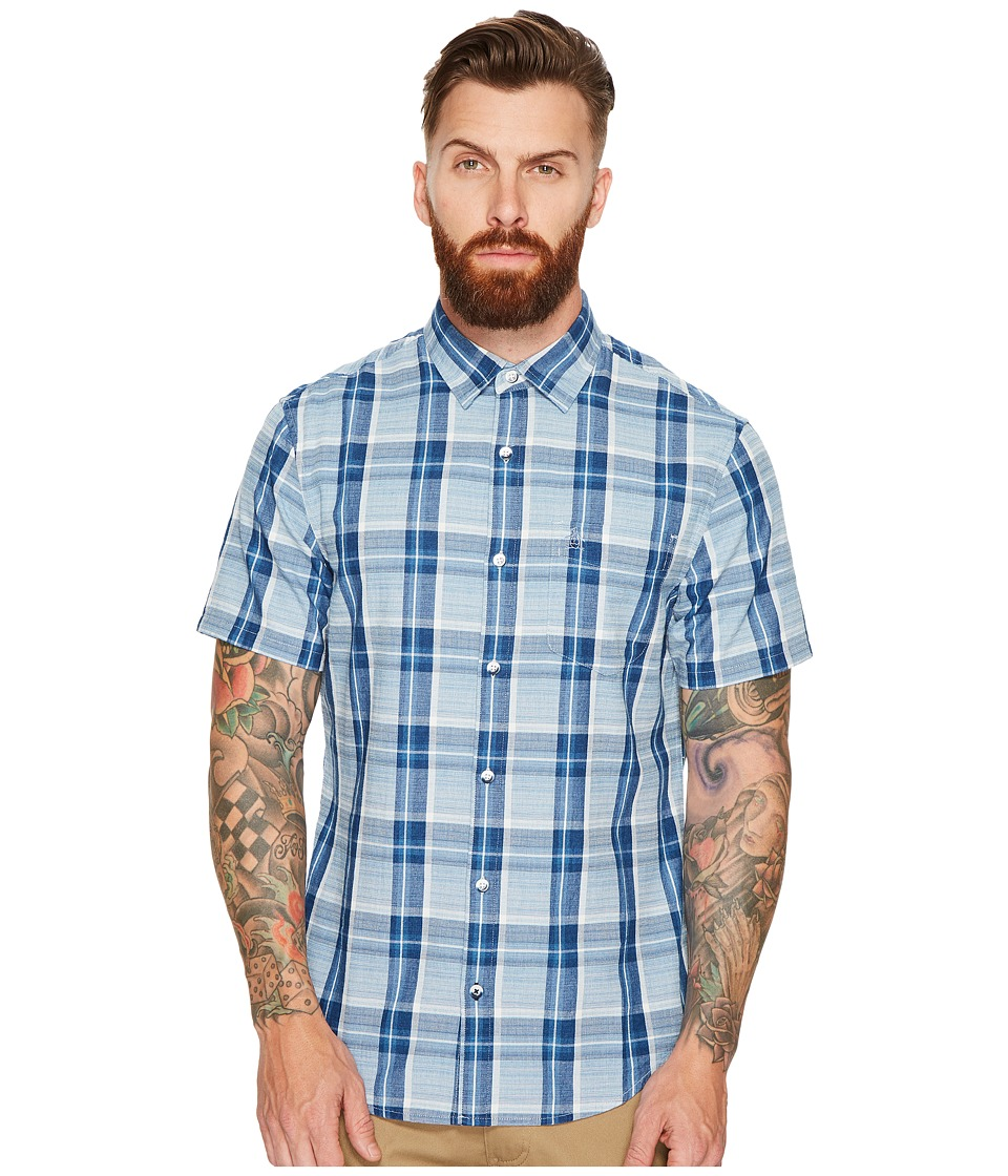 Original Penguin - Indigo Plaid Woven (Dark Sapphire) Men's Short Sleeve Button Up