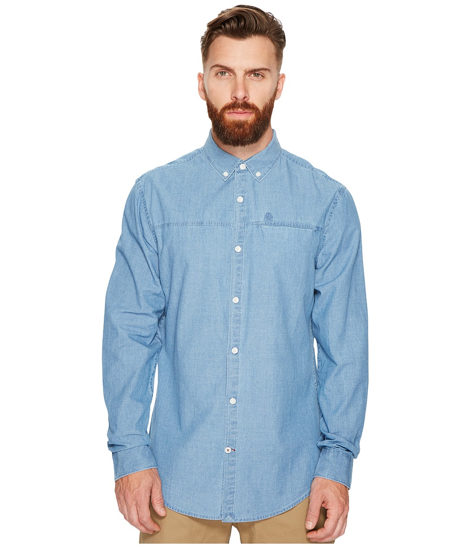 Original Penguin - Long Sleeve Washed Indigo Woven Shirt (Vintage Indigo) Men's Long Sleeve Button Up
