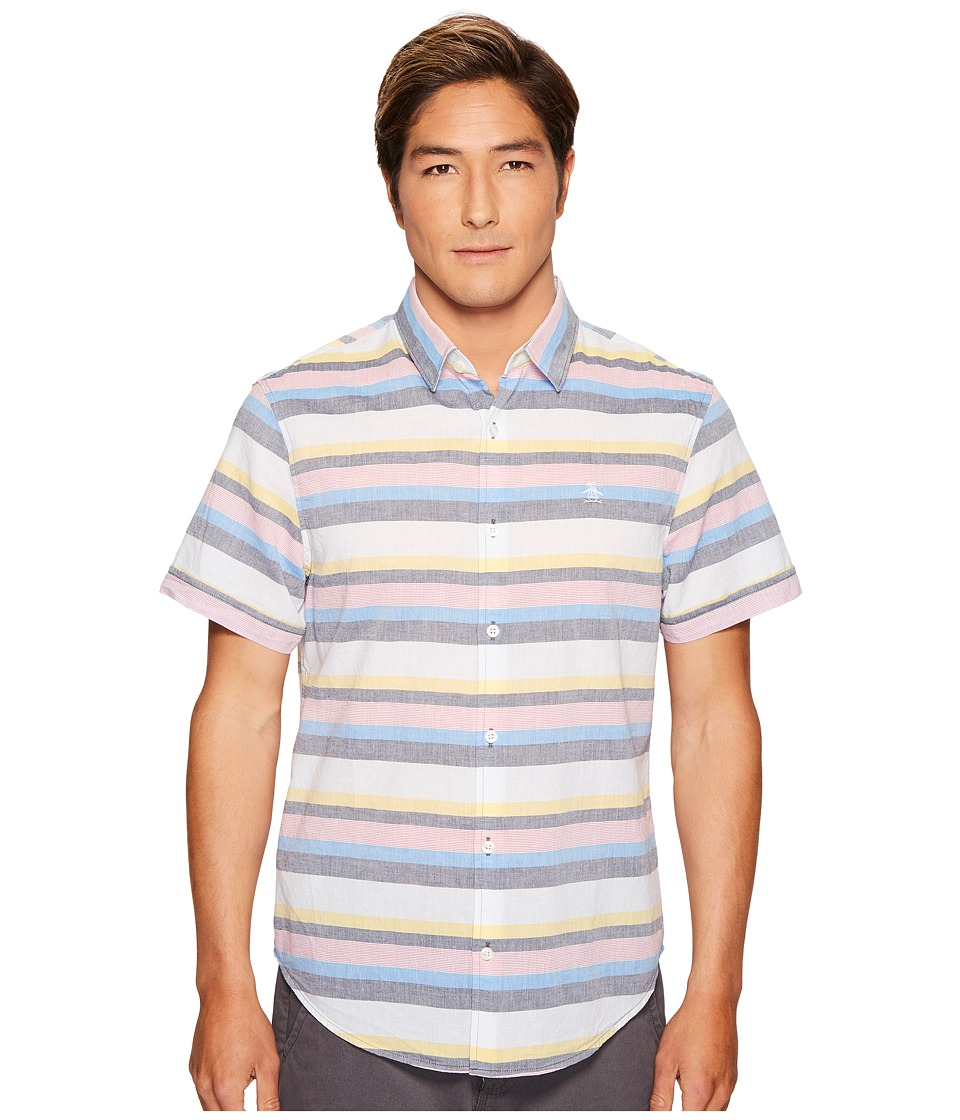 Original Penguin - Lawn Stripe Shirt (French Blue) Men's Short Sleeve Button Up