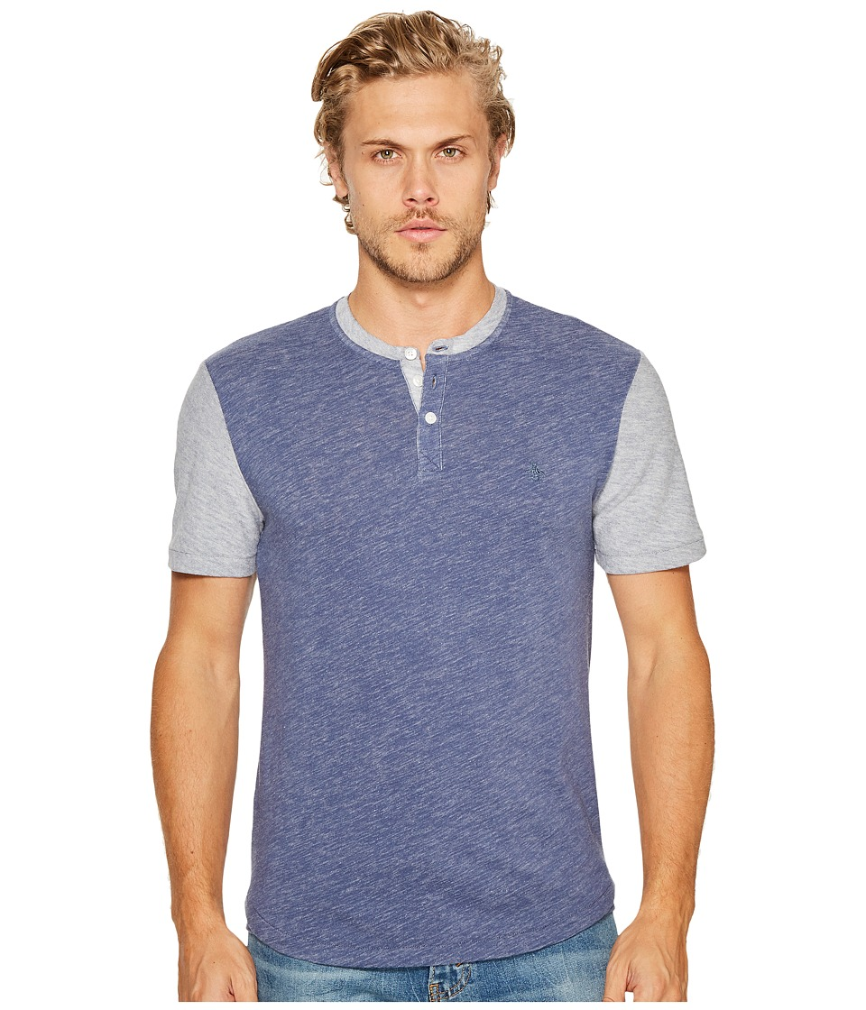 Original Penguin - Slub Plaited Jersey Baseball Knit (Vintage Indigo) Men's Short Sleeve Pullover