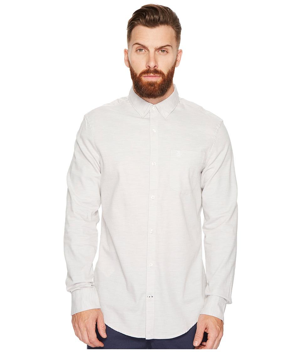 Original Penguin - Heathered Twill Woven Shirt (Rain Heather) Men's Long Sleeve Button Up