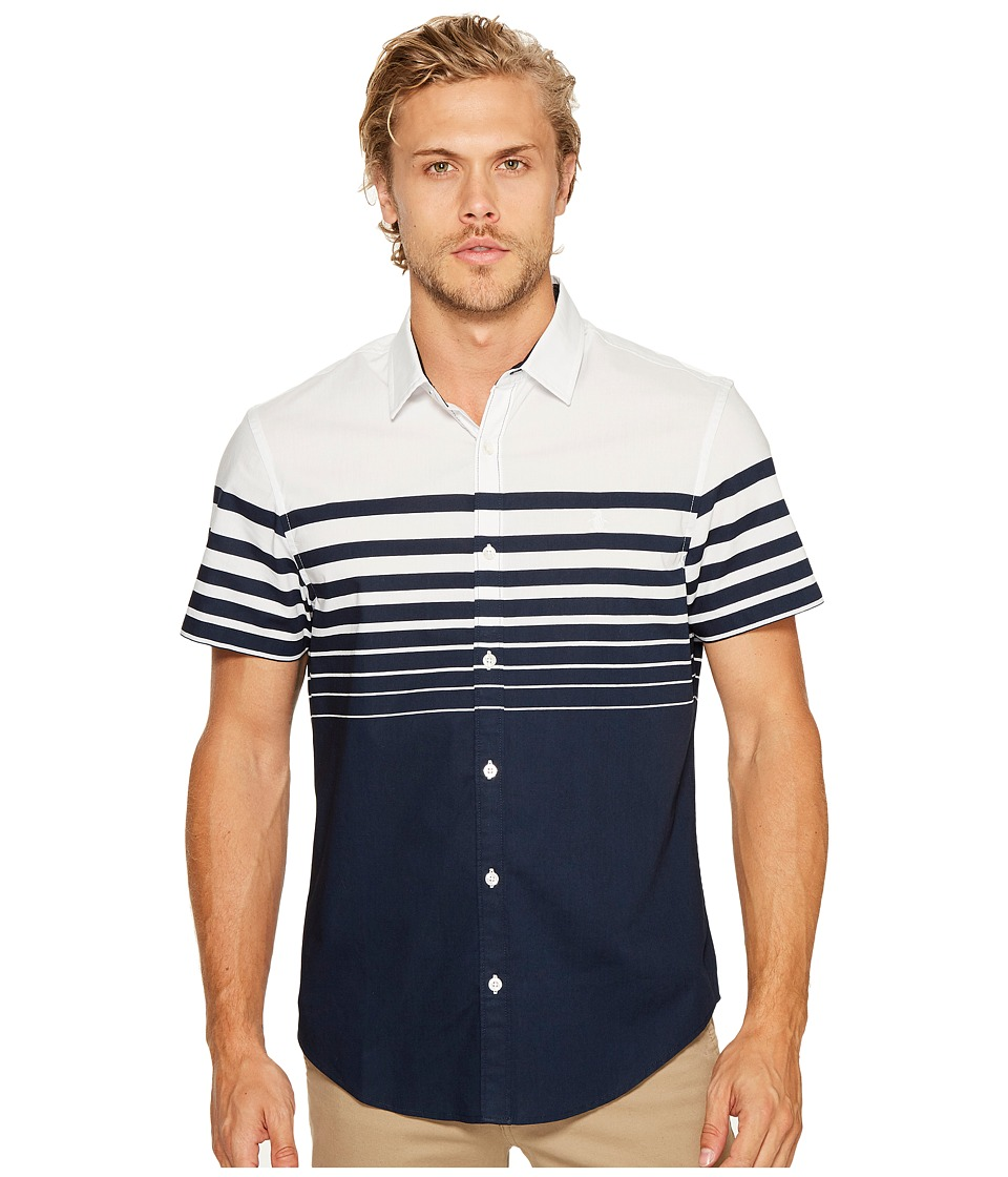 Original Penguin - Short Sleeve Print On Stretch Poplin Woven (Dark Sapphire) Men's Short Sleeve Button Up