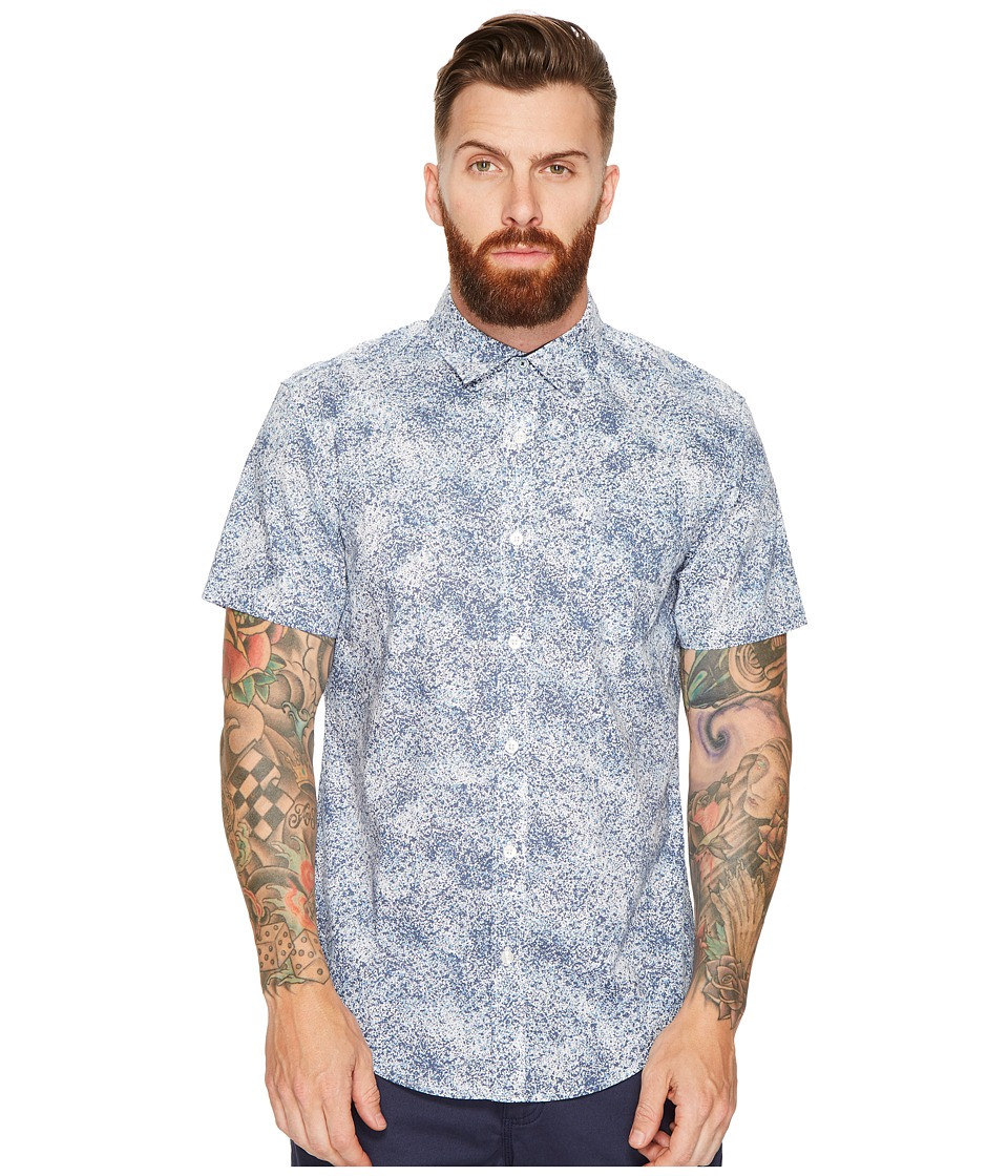 Original Penguin - Spray Print Woven (Dark Sapphire) Men's Short Sleeve Button Up