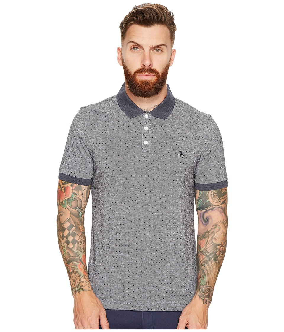 Original Penguin - Birdseye with Dobby Jacquard Polo (Dark Sapphire) Men's Short Sleeve Pullover