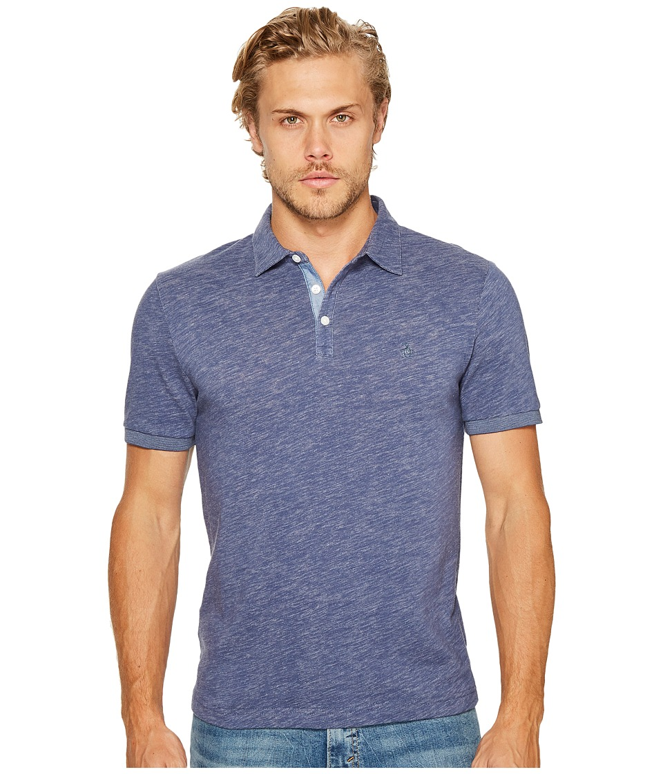 Original Penguin - Slub Plaited Jersey Polo (Vintage Indigo) Men's Short Sleeve Pullover
