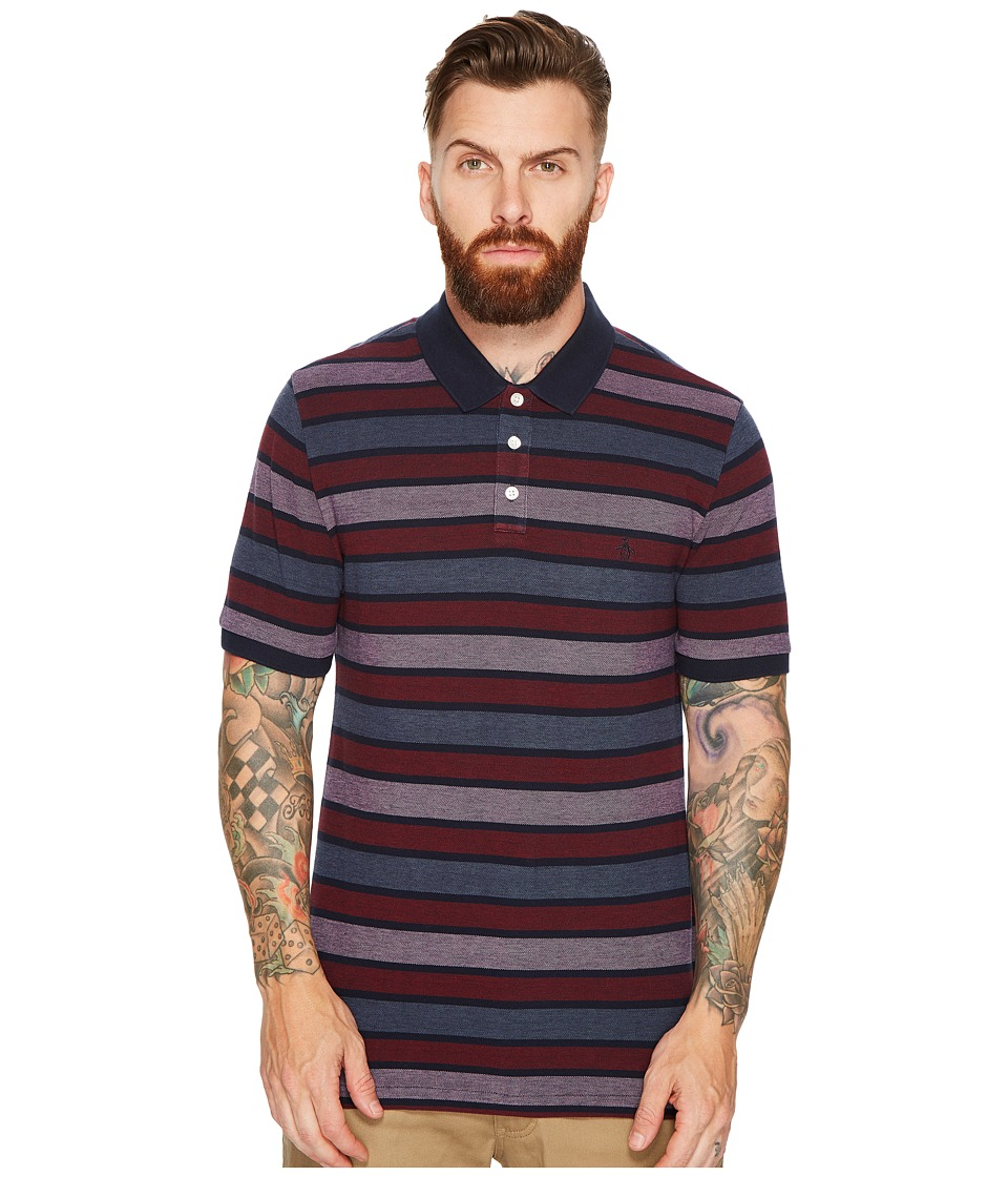 Original Penguin - Birdseye Auto Stripe Polo (Dark Sapphire) Men's Short Sleeve Pullover