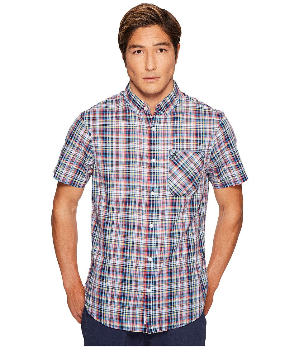 Original Penguin - Plaid Shirt (Dark Sapphire) Men's Short Sleeve Button Up