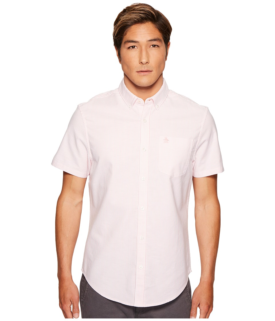 Original Penguin - Stripe Oxford Shirt (Pink Icing) Men's Short Sleeve Button Up