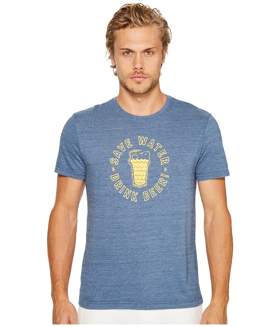 Original Penguin - Save Water Drink Beer Tee (Vintage Indigo) Men's T Shirt