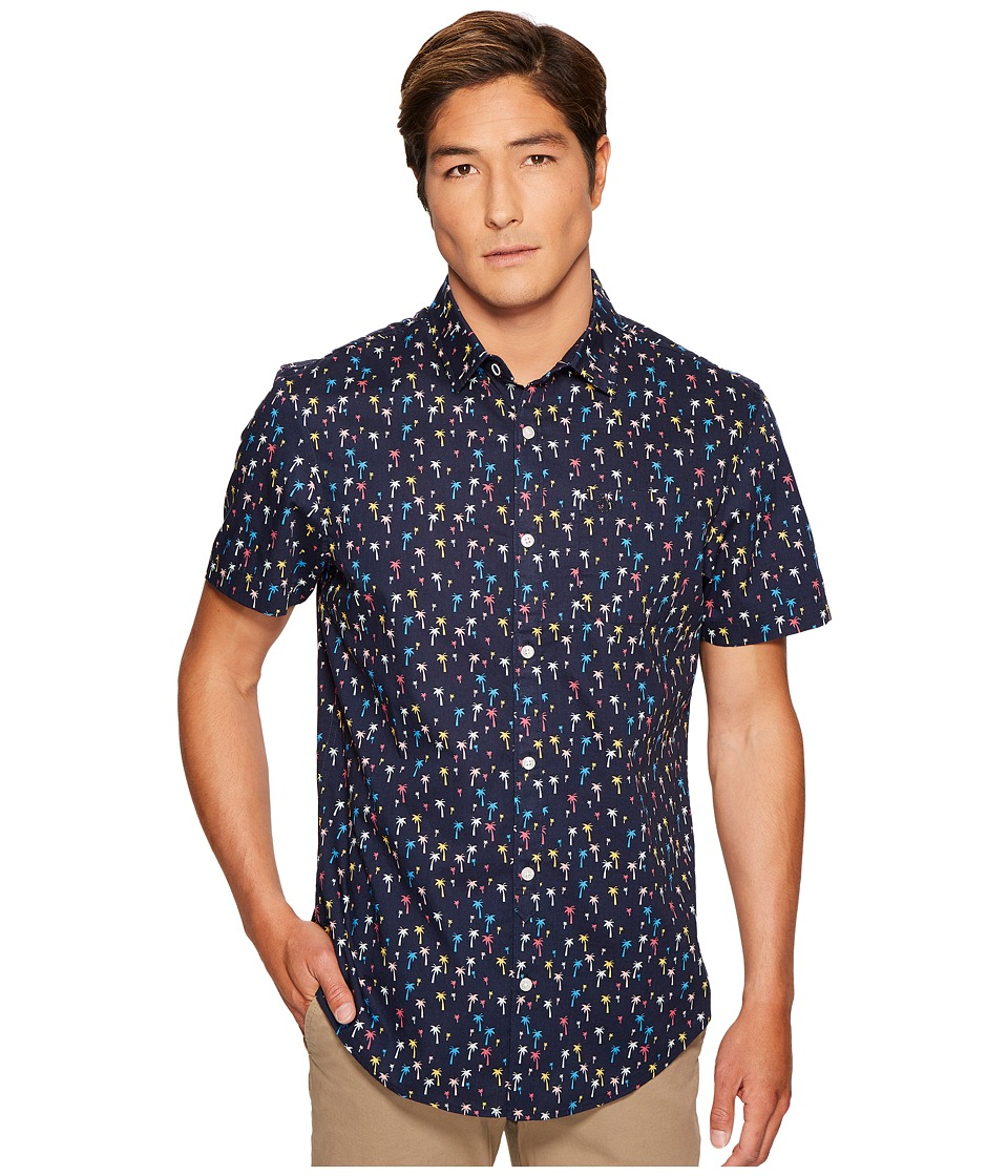 Original Penguin - Short Sleeve Mini Color Palms Stretch Poplin Shirt (Dark Sapphire) Men's Short Sleeve Button Up