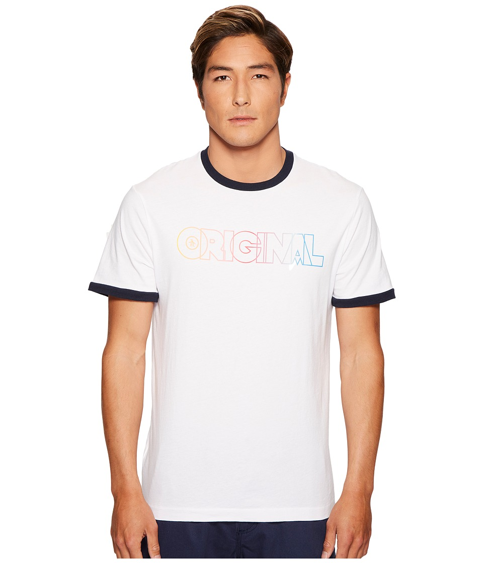Original Penguin - Rainbow Ombre Original Ringer Tee (Bright White) Men's T Shirt