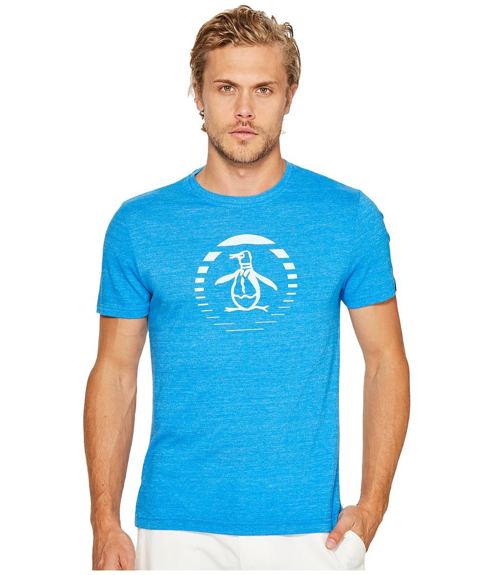 Original Penguin - Ombre Stripe Circle Logo Tee (French Blue) Men's T Shirt