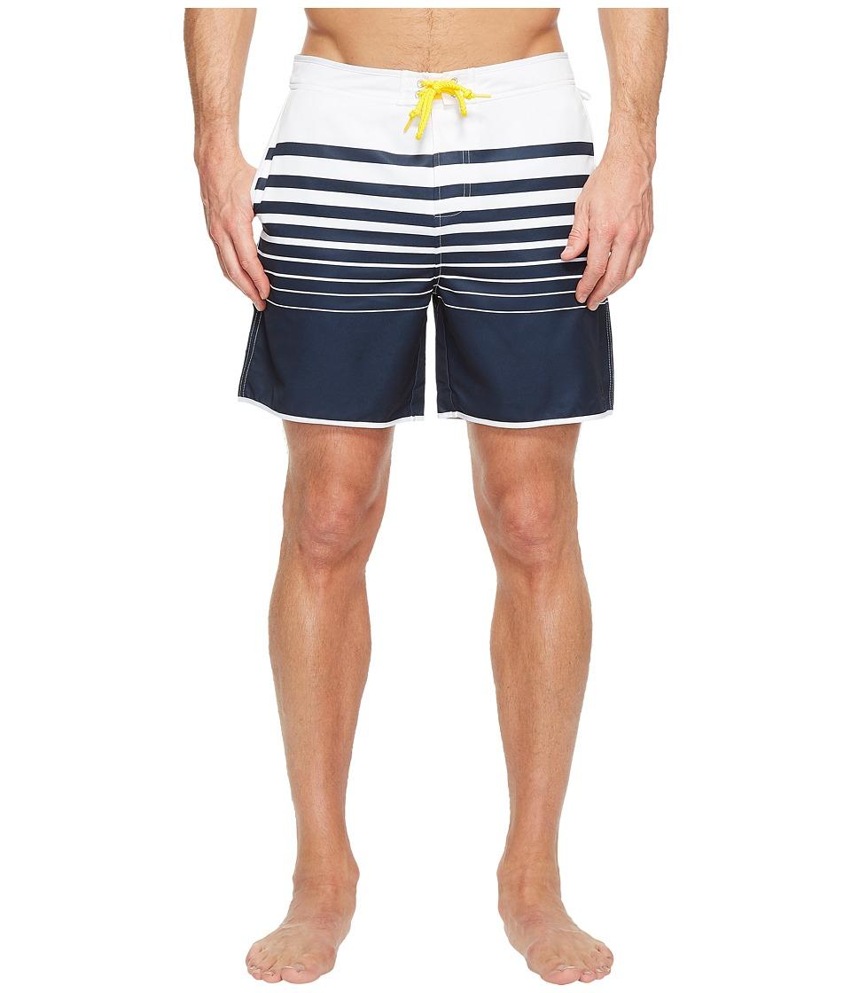 Original Penguin - Engineered Stripe Fixed Volley Swim Trunk (Dark Sapphire) Men's Swimwear